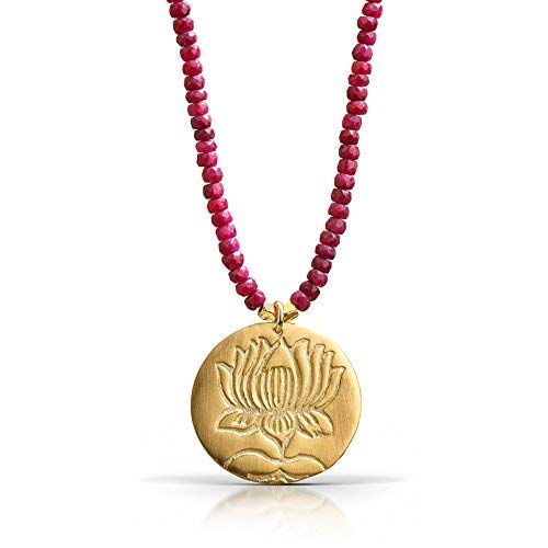 Lotus Ruby Necklace - 18K Gold Vermeil