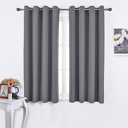 Nicetown Window Treatment Thermal Insulated Solid Grommet Blackout Curtains / Panels / Drapes for Bedroom (Set of 2 Panels,52 by 63 Inch,Grey)