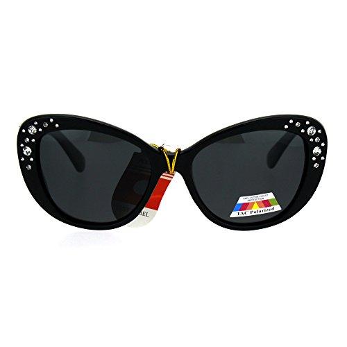 Antiglare Polarized Rhinestone Bling Thick Plastic Cat Eye Diva Sunglasses All - Cat Eye Sunglasses Bling