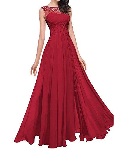 Lang Herrlich Abschlussballkleider Charmant A Chiffon Damen Dunkel Partykleider Rot linie Brautjungfernkleider Abendkleider qUw05