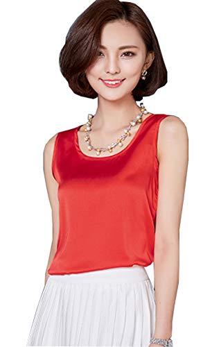 (ezShe Women's Round Neck Sleeveless Blouse Silk Shell Tops Red 2XL)