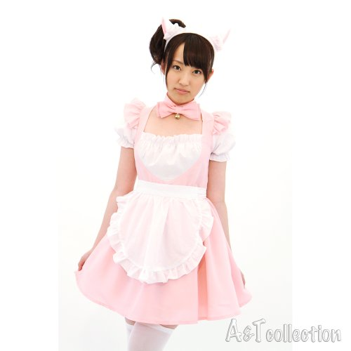 Strawberry ? maid / lovely series pink maid cat ear & Bell / Ribbon Pink × White