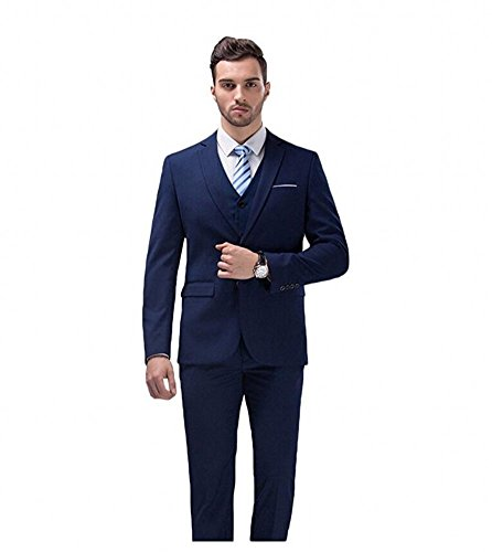 Botong Navy Wedding Suits for Men 3 Pieces Slim Fit (Dress Suit Blue 3 Piece)