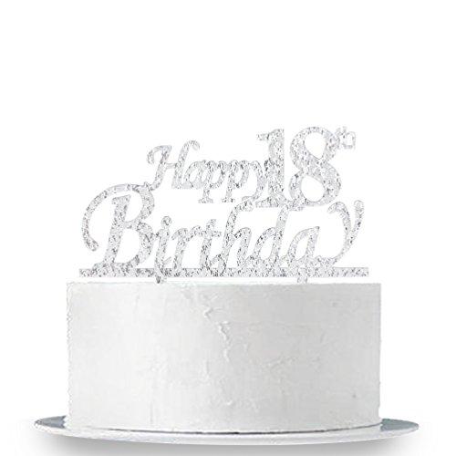 INNORU Happy 18th Birthday Cake Topper - 18 Happy Birthday Silver Glitter Party Cake Decorations