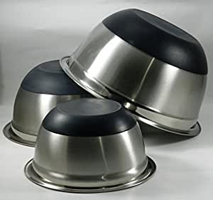 Anti Skid Mixing Bowls, Stainless Steel Set of 3
