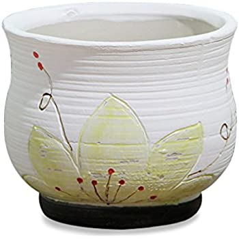 Amazon Com Dahlia Mini Lotus Hand Painted White Ceramic