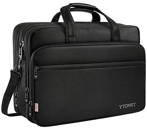 17 inch Laptop Bag, Travel Briefcase with Organizer, Expandable Large Hybrid Shoulder Bag, Water Resisatant Business Messenger Briefcases for Men and Women Fits 17 15.6 Inch Laptop, Computer, ()