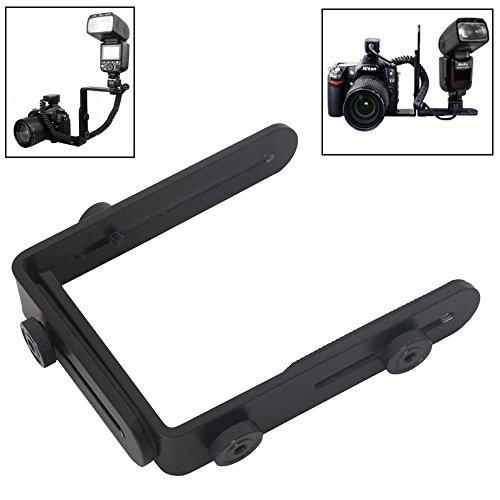 Camera Flash Mount Bracket - Dual-L Shaped Flash Bracket for Canon 5D II 7D 50D 60D 550D Nikon D7000 D300s D700 D90
