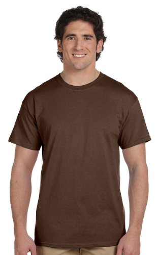 Fruit of the Loom Men's Cotton Crewneck T-Shirt, Chocolate, Small - Brown Mens Shirt