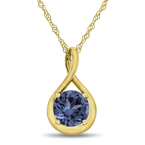 Finejewelers 7mm Round Simulated Aquamarine Twist Pendant Necklace Chain Included 10 kt Yellow Gold