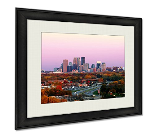 High Peak Clear Canopy - Ashley Framed Prints Minneapolis Skyline During Autumn At Sunset From Plymouth Minnesota, Wall Art Home Decoration, Color, 30x35 (frame size), AG6461593