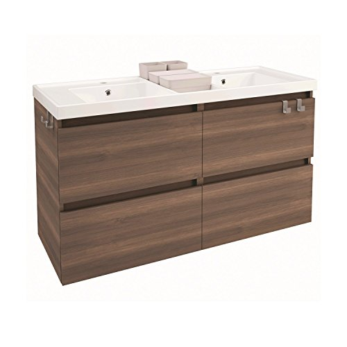 Ash Contemporary Dresser (Box 48 in. Wall Mounted Bathroom Vanity 4 Drawers Cabinet with Resin Washbasin (Ash))
