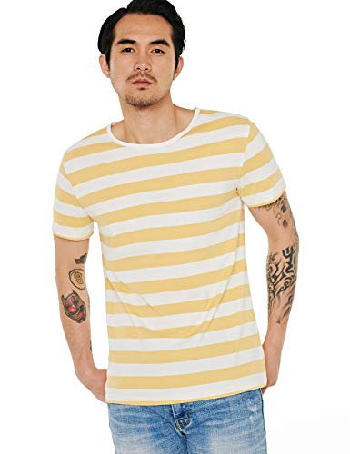 (Zbrandy Striped T Shirt for Men Sailor Tee Horizontal Stripes Costume Yellow White L)