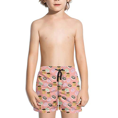 Kid Donut Pink Party Wedding Black Cake White Swimming Trunks Surfing Outdoor Water Sports Quick-Dry Boardshorts by XULANG