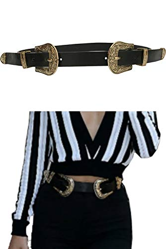 (ALAIX Women Leather Two Buckles Belt Ladies Vintage Western Design High Waist Dresses Outfits Belt (Up to 33