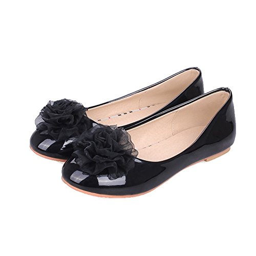 Toe Shoes Pu WeiPoot Women's Solid Heel Round Low On Pull Black Pumps tTRwqgx