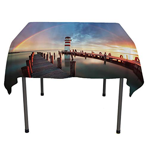 (Lighthouse Decor Checkered Tablecloth Sunset at Seaside with Wooden Docks Lighthouse Clouds Rainbow Waterfront Reflection Multi Waterproof tablecloths Spring/Summer/Party/Picnic 54 by 54)