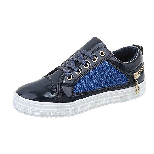 da Donna Low Design Ital Scarpe Sneaker Bleu Piatto Sneakers Fonc qfEtFPFw