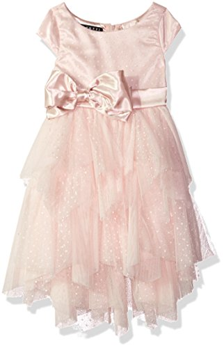 Biscotti Little Girls Princess Party Dress With Netting Skirt and Charmeuse Bow, Pink, 4 by Biscotti