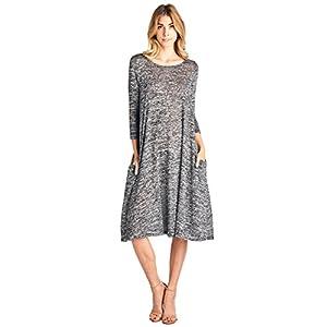 12 Ami 3/4 Sleeve Knit Pocket Midi Dress – Made in USA