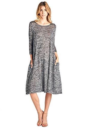 12 Ami 3/4 Sleeve Knit Pocket Midi Dress - Made in USA
