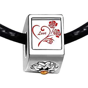 Chicforest Silver Plated Cute Love Rose Photo Topaz Crystal November Birthstone Flower Charm Beads Fits Pandora Charm Bracelet