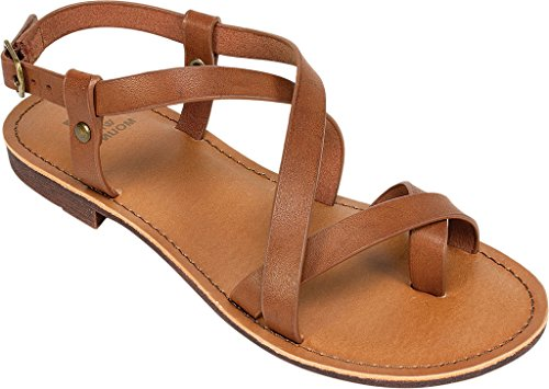 Flat Womens Toe CAELA Smooth Open Sandals Casual Walnut Mountain White FOqHwT4