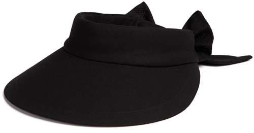 Scala Women's Deluxe Big Brim Cotton Visor with Bow, Black, One Size (Women Hats Brim Big For)