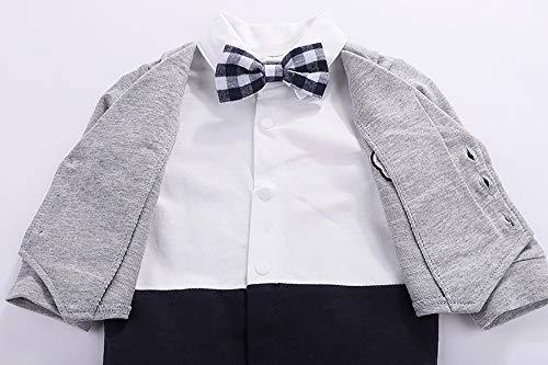 965a5799b5d94 Yilaku ベビー 新生児 服 フォーマル カバーオール 長袖 シャツ ロンパンツ 七五三 出産祝い(Gray
