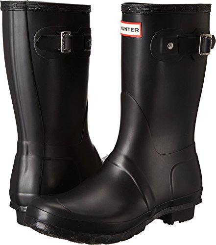 Hunter Womens Original Short Black Matte Rain Boot - 5 B(M) US -
