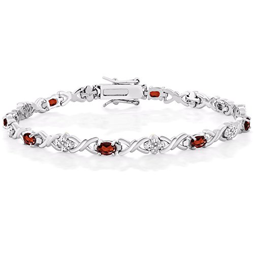 Gem Stone King Garnet and Diamond Accent 7 Inch 925 Sterling Silver Tennis Bracelet (5.00 cttw, Garnet: 6x4mm, Diamond: 0.09 milimeters)