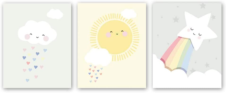 "Cute Baby Kids Room Nursery Funny Wall Art Print,Set of 3 Art Poster (8"" x10"" ),Cartoon Cloud Sun Star Canvas Watercolor Painting Modern Nordic Home Decor,Unframed"