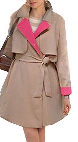 Tirahse Women's Fashion Slim Stitching Windbreaker ApricotLarge