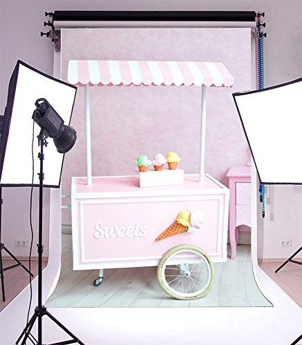 AOFOTO 6x8ft Sweets Ice Cream Cart Backdrop Little Girl Birthday Party Decorations Photography Background Kid Infant Child Toddler Artistic Portrait Photo Shoot Studio Props Video Drop Seamless Vinyl (Portable Ice Cream Cart)