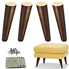 Tapered wood legs for all kinds of DIY furniture and update old sofa, couch, armchair.       Pacakge including: 4x wood legs, 4x mounting plate, 30x screws. (The screws are 1 inch long. If they don't fit well, you may need to find long...