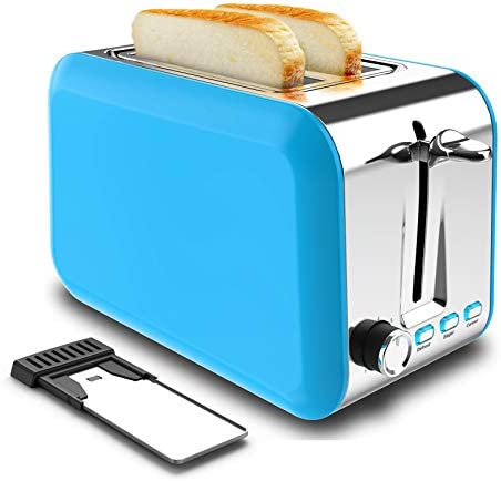 2 Slice Toaster Stainless Steel Best Rated Prime Toaster 2 Slice with Removable Crumb Tray and seven Bread Shade Settings Reheat Defrost Cancel Functions for Bread Waffles