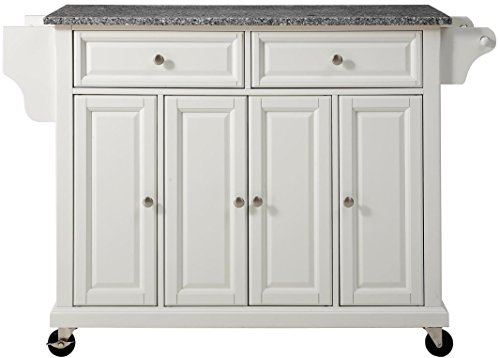 Crosley Furniture Rolling Kitchen Island with Solid Grey Granite Top - White (Kitchen Island With Granite Top)