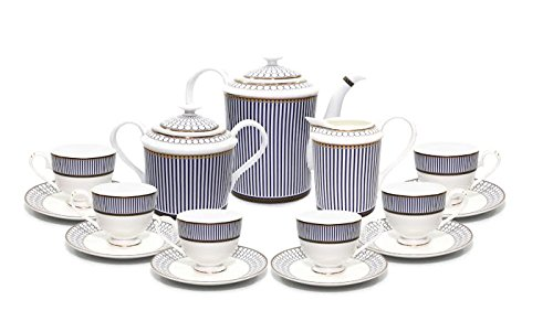 Royalty Porcelain 15-Piece Vintage Dining Tea Cup Set, Russian Cobalt Blue Stripe, 24K Gold Accents Bone China ()
