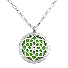 Charmed Craft Flower Aromatherapy Essential Oil Diffuser Necklace Stainless Steel Locket Pendant