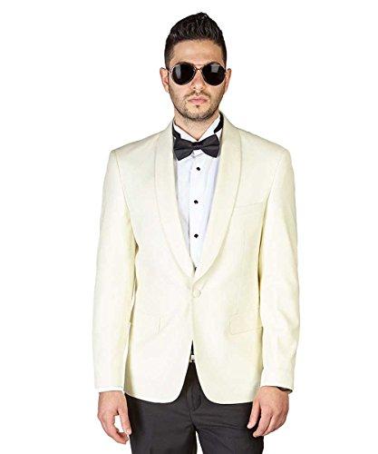 Slim Fit 1 Button Ivory Shawl Lapel Collar Tuxedo Jacket Modern Dinner Blazer AZAR (38 Short, Solid Ivory) by AZAR MAN