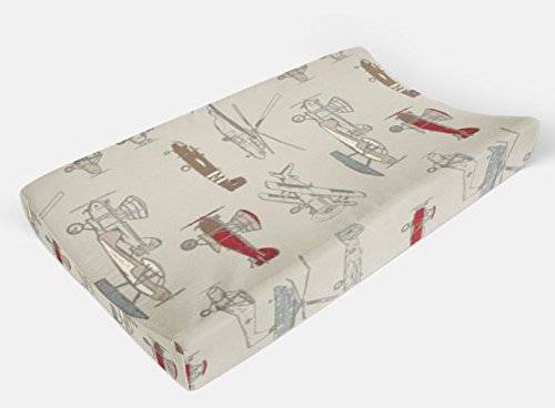 Changing Pad Cover in Vintage Airplanes Red by Twig + Bird - Handmade in America