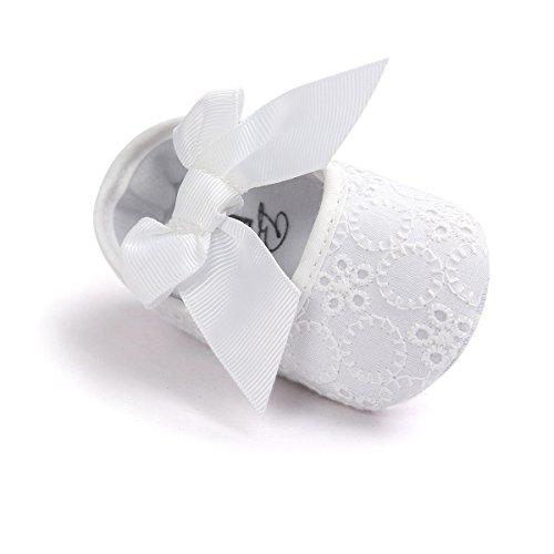 Estamico, Zapatos primeros pasos para niña, bautizo del bebé zapatos, Blanco Blanco