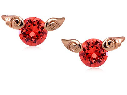 Petite Enamel And Ruby Stud Earrings With Delicate Golden Leaf Accent -