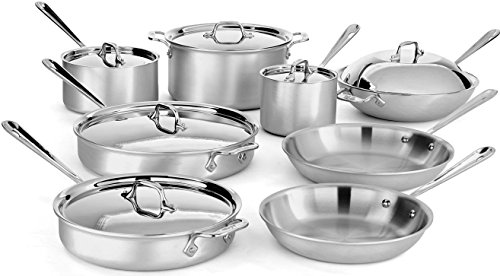 All-Clad 700492 MC2 Professional Master Chef 2 Stainless Steel Bi-Ply Bonded Oven Safe PFOA Free Cookware Set, 14-Piece, Silver (All Clad Cooking Set)
