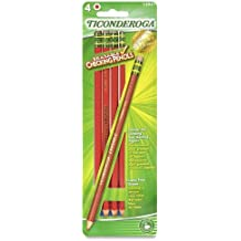 Dixon Ticonderoga Erasable Checking Pencils, Eraser Tipped, Pre-Sharpened, Pack of 4, Red (13941)