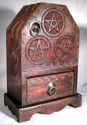 Wooden Cupboard - AzureGreen Pentagram Chest and Cupboard
