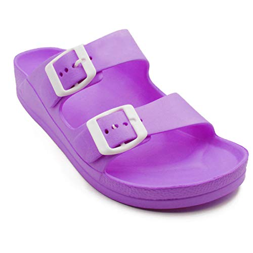 Women's Lightweight Comfort Soft Slides EVA Adjustable Double Buckle Flat Sandals Buddy (7 B(M) US, Purple)]()