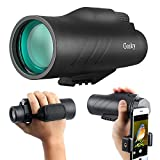 Gosky 12x50 Ultra HD Monocular with Picatinny Rail for Rifle-2019 New Waterproof Hunting Monocular with Scope Mounting Base Rifle Rail and Smartphone Holder for Hunting Survival Wildlife Bird Watching