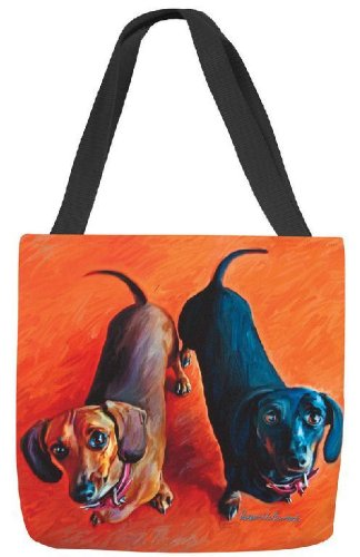 Manual SODDDH Double Dachsies Dachshund Paws and Whiskers Square Tote Bag, 17 17 MWW On Demand 83-Nat-SODDDH