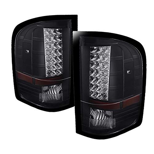 Xtune for 2007-2013 Silverado Black LED Perform Tail Lights Rear Brake Lamps Upgrade Pair L+R/2008 2009 2010 2011 2012 2013
